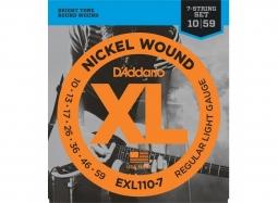 Daddario EXL110-7 El. 7-String Nickel Round W. .010-.059 Regular Light