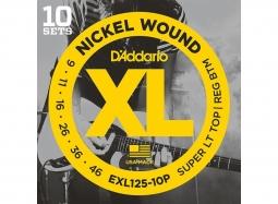 DADDARIO EXL125-10P El. Nickel Round W. .009-.046 SuperTop-RegBottom