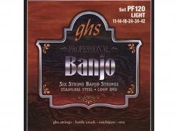 GHS PF120 Banjo 6-String Set .011-.042 Stainless Steel, Loop End