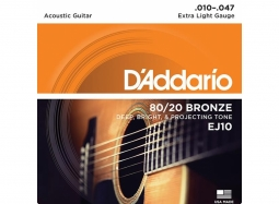 Daddario EJ10 Ac. 80/20 Bronze Wound .010-.047 Extra Light