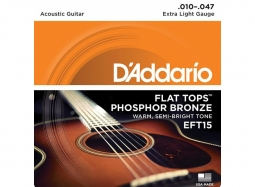 Daddario EFT15 Ac. Phosph. Bronze Flat Tops PL010 -FT047 Extra Light