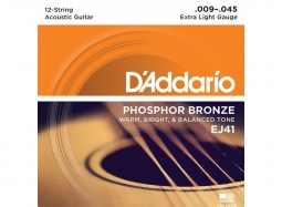 Daddario EJ41 Ac. .009 - .045 Phosphor Bronze W. 12 strings extra light
