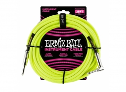 Ernie Ball Instrument Cable 25ft Straight-Right neongelb