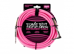 Ernie Ball Instrument Cable 25ft Straight-Right neonpink
