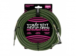 Ernie Ball Instrument Cable 10ft Straight-Right schwarz-grün