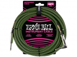 Ernie Ball Instrument Cable 18ft Straight-Right schwarz-grün