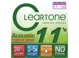 Cleartone EMP Coated Phosphor Bronze Acoustic Guitar Strings 7411 Custom Light 11-52