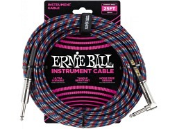 Ernie Ball Instrument Cable 25ft Straight-Right blau rot weiss