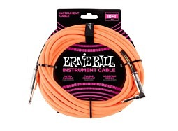 Ernie Ball Instrument Cable 10ft Straight-Right neoorange