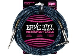 Ernie Ball Instrument Cable 25ft Straight-Right schwarz-neonblau